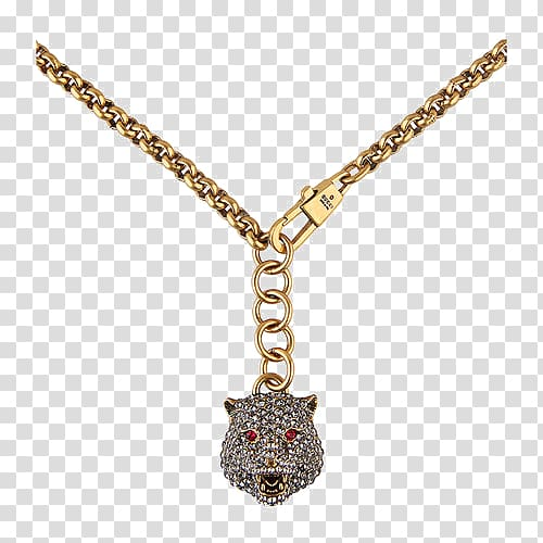 clip art royalty free library Bling transparent chain. Gold colored fox pendant