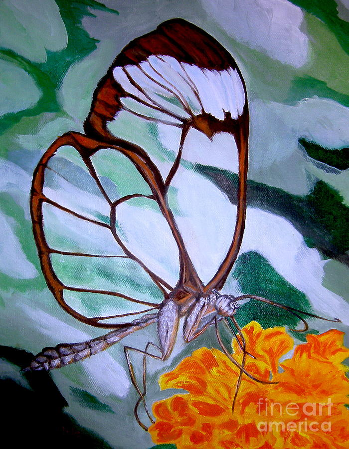banner transparent Transparent painting. Winged butterfly