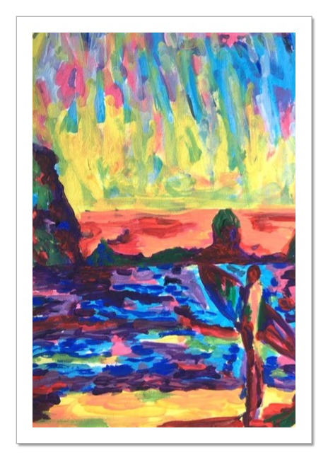 png library library ONE LAST SUNSET painting surf beach surfer acrylic fine art print
