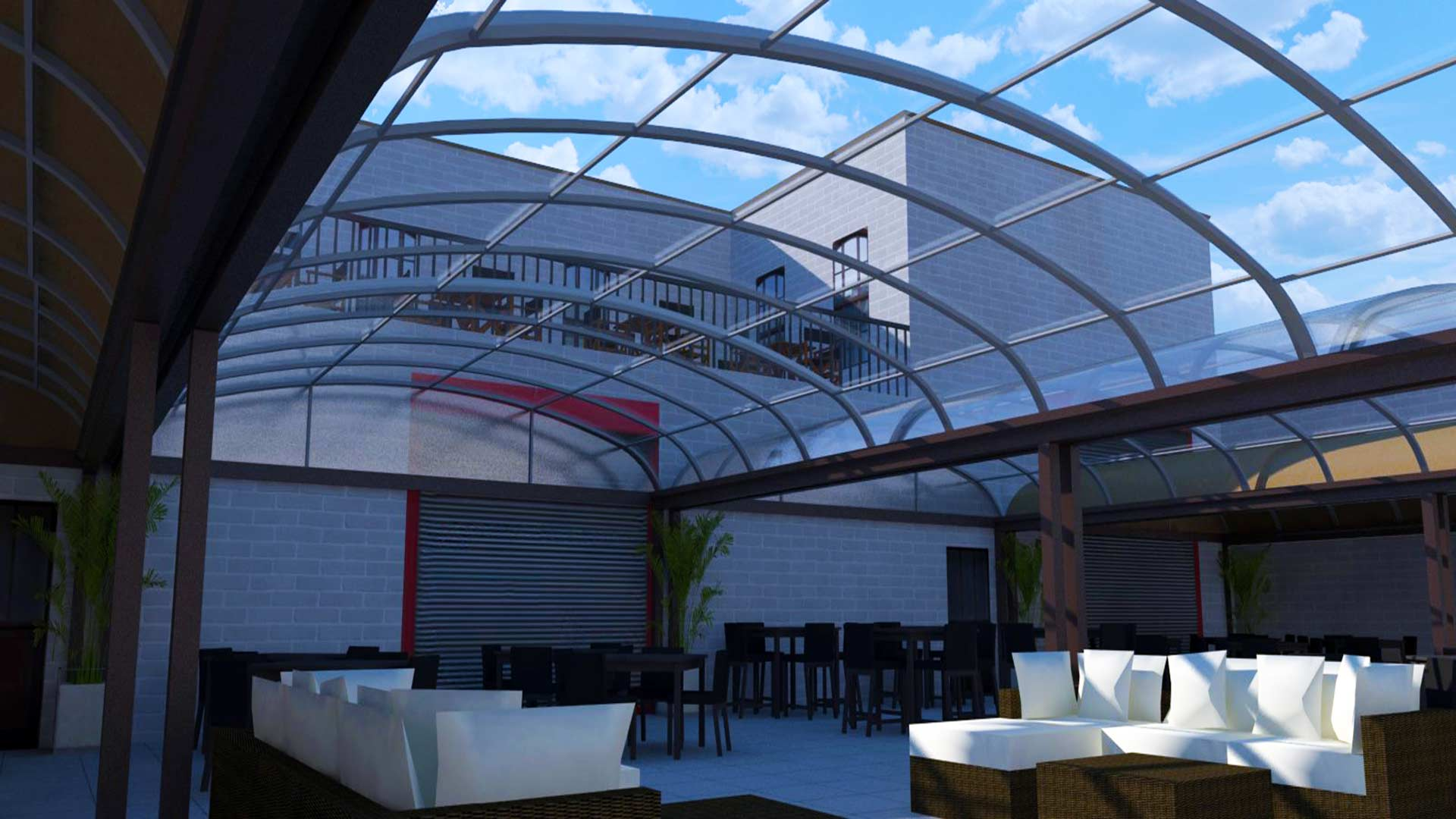graphic transparent stock Motorized roofing in usa. Transparent roof terrace.