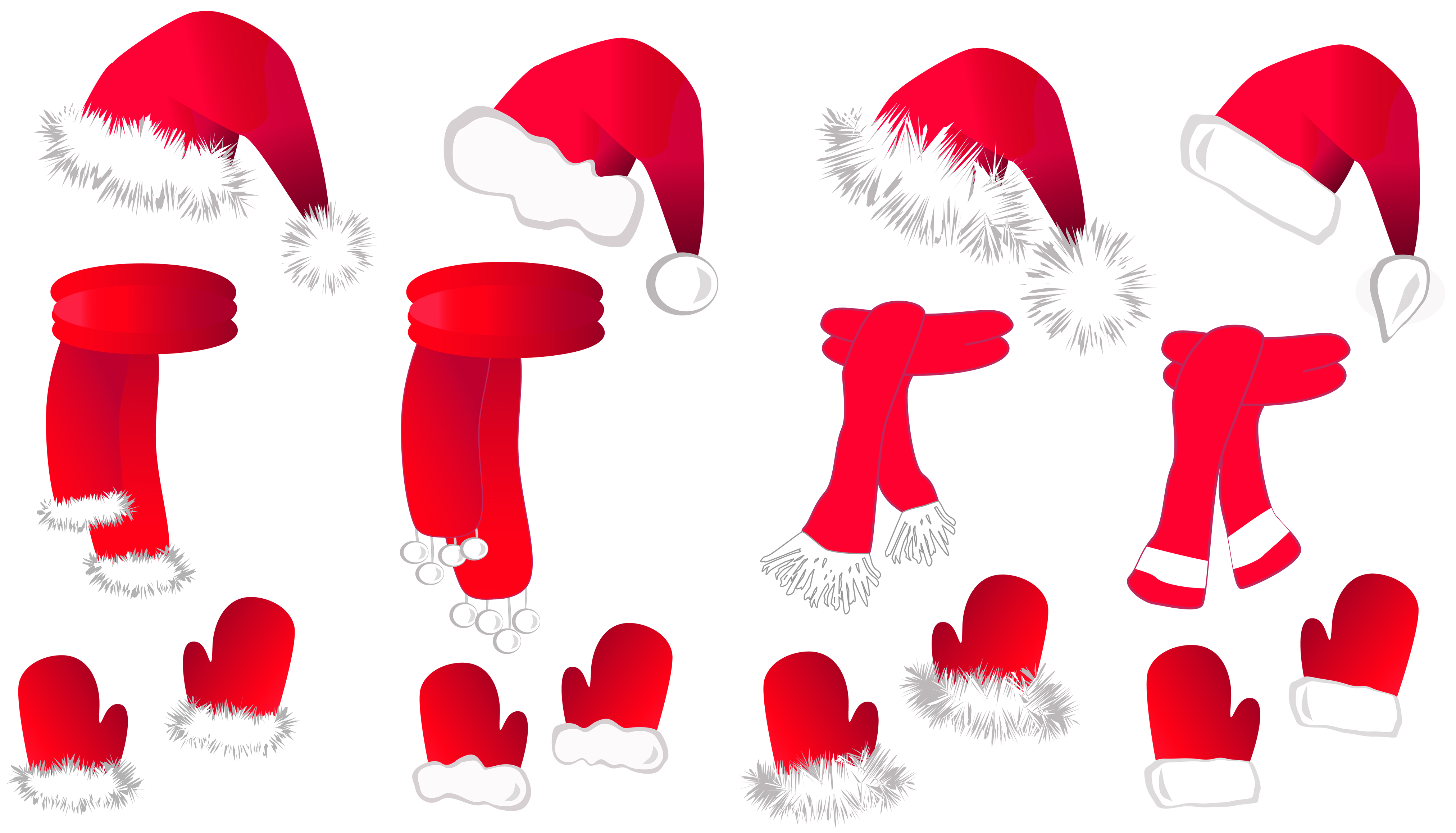 svg library Transparent Christmas Santa Hat and Scarfs Collection PNG Clipart