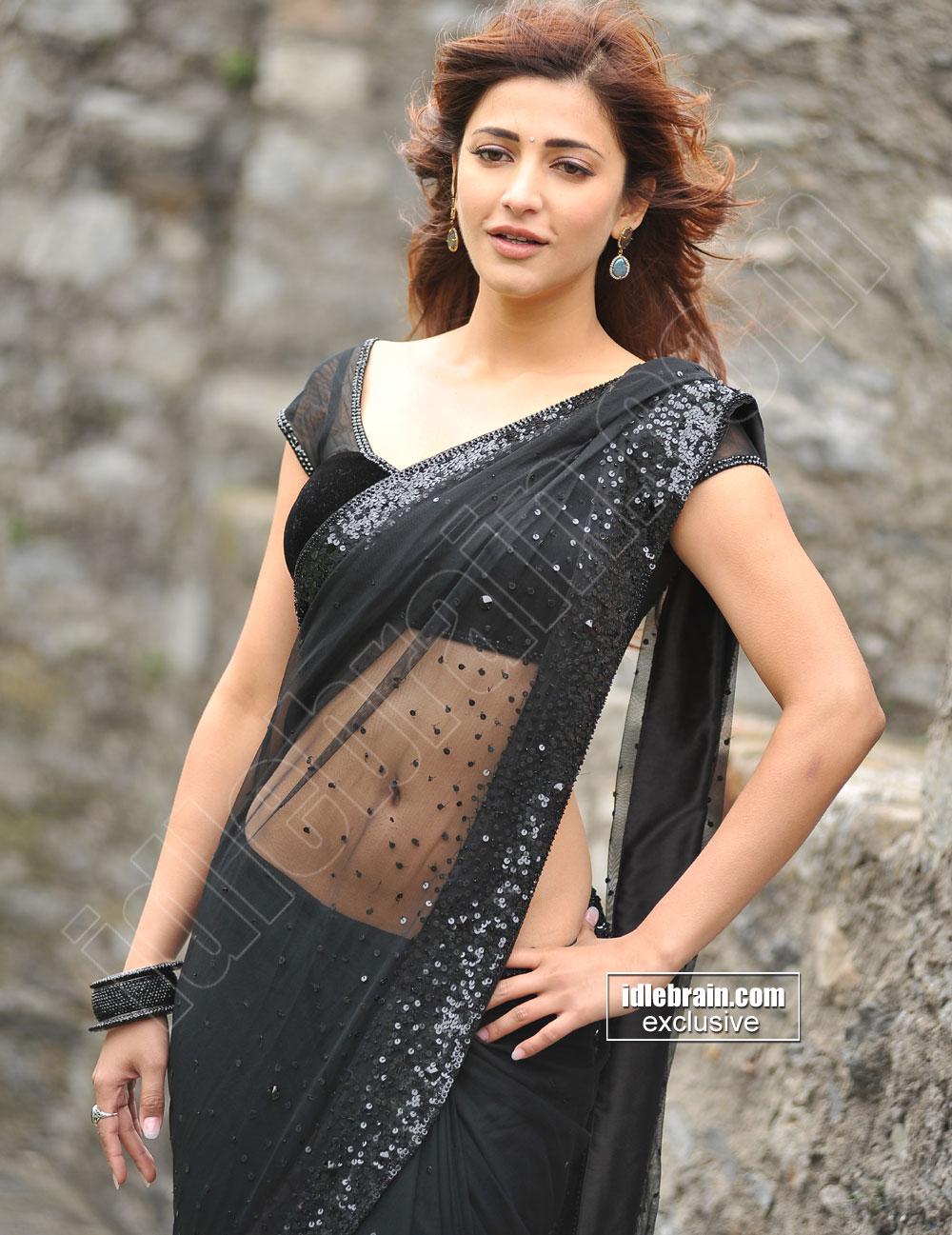 png freeuse stock Transparent saris. Shruthi haasan in black.