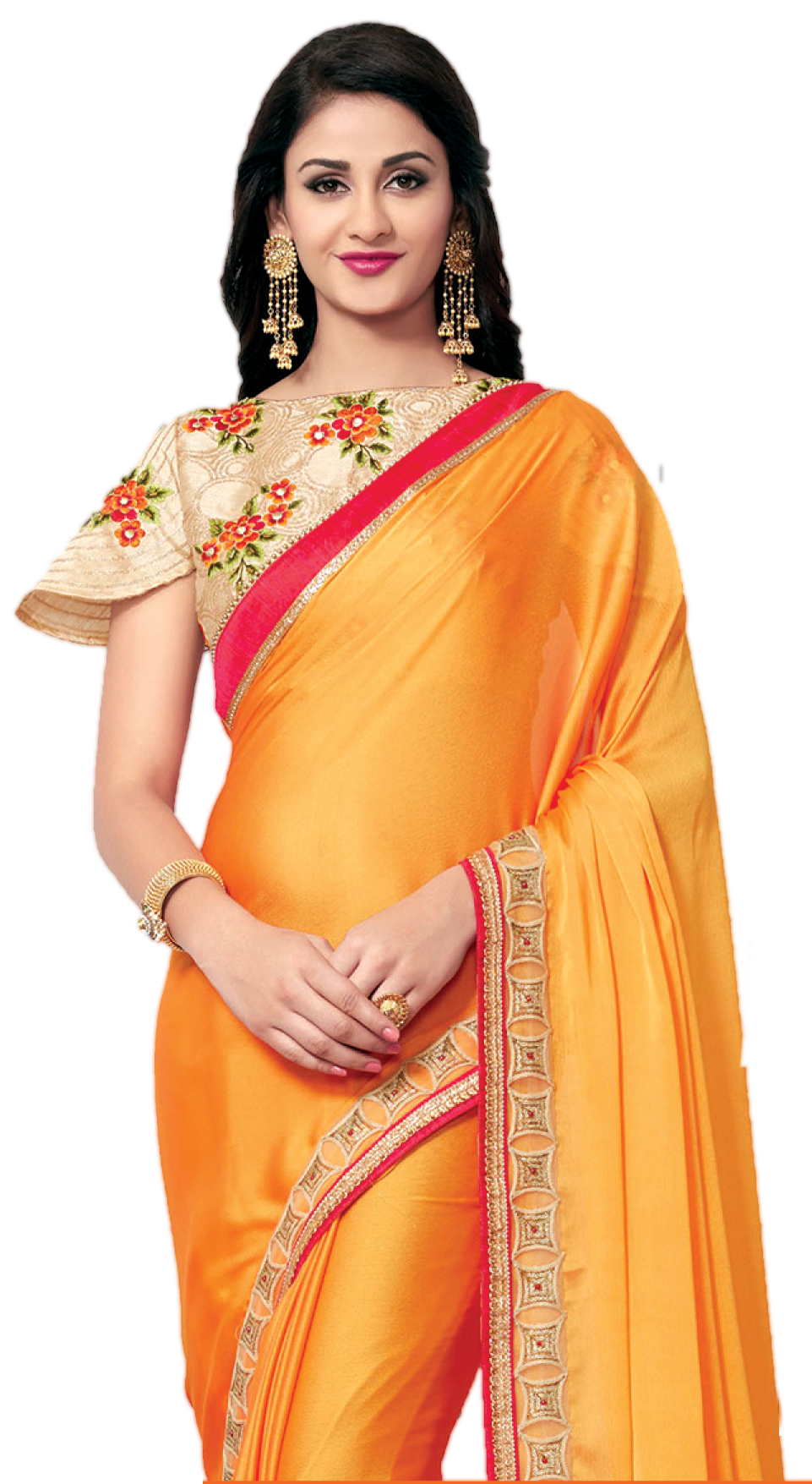 banner black and white Beautiful Model in saree PNG Transparent image free