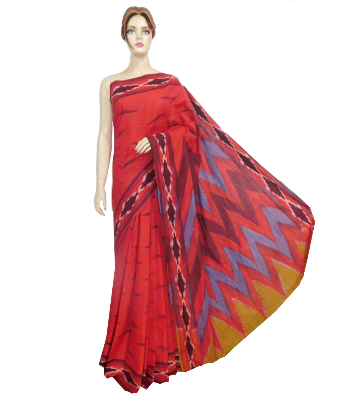 graphic library stock Pure Cotton Ikkat Saree