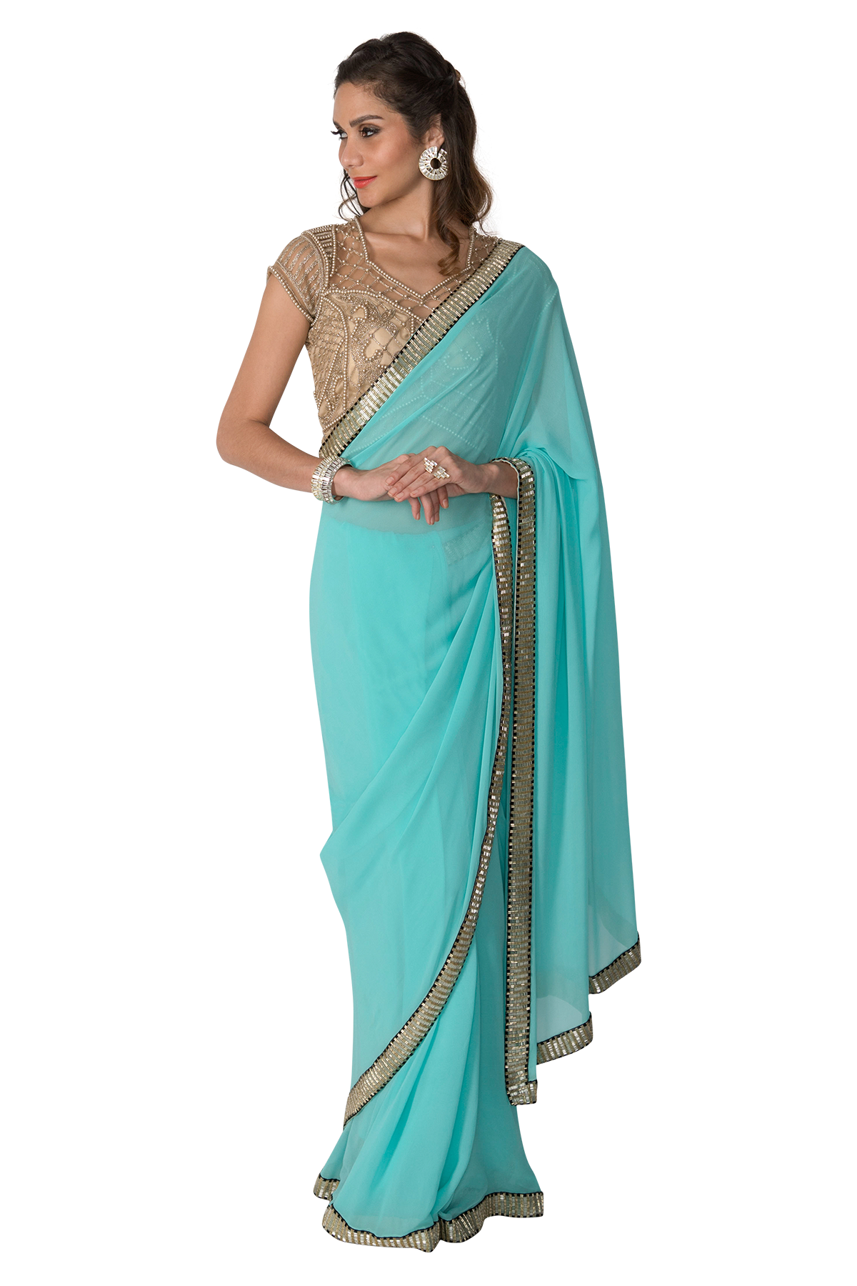 clip art free library Sky blue Saree with gold blouse by Sonaakshi Raaj For Rent