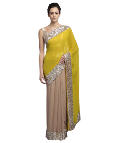 transparent library Hot Pink Colour Saree Gown
