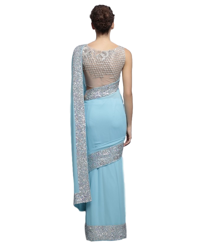 clip art transparent stock Light blue color designer saree with silver ssequin work