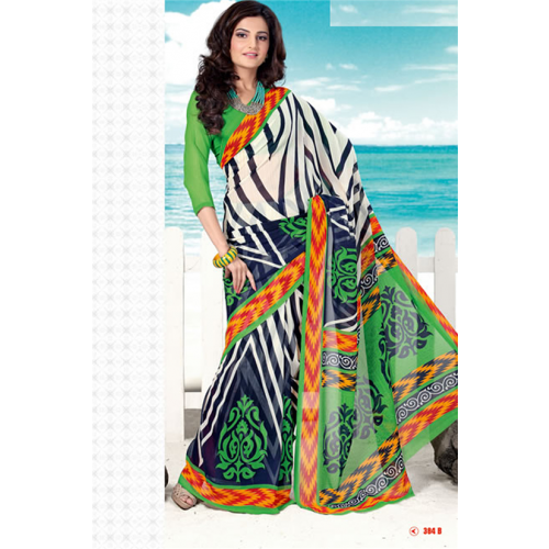 clip transparent SimpleSarees Monica Bedi Green Georgette Printed Saree