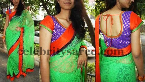 picture library Brasso saree blouse patterns. Transparent saris light green.