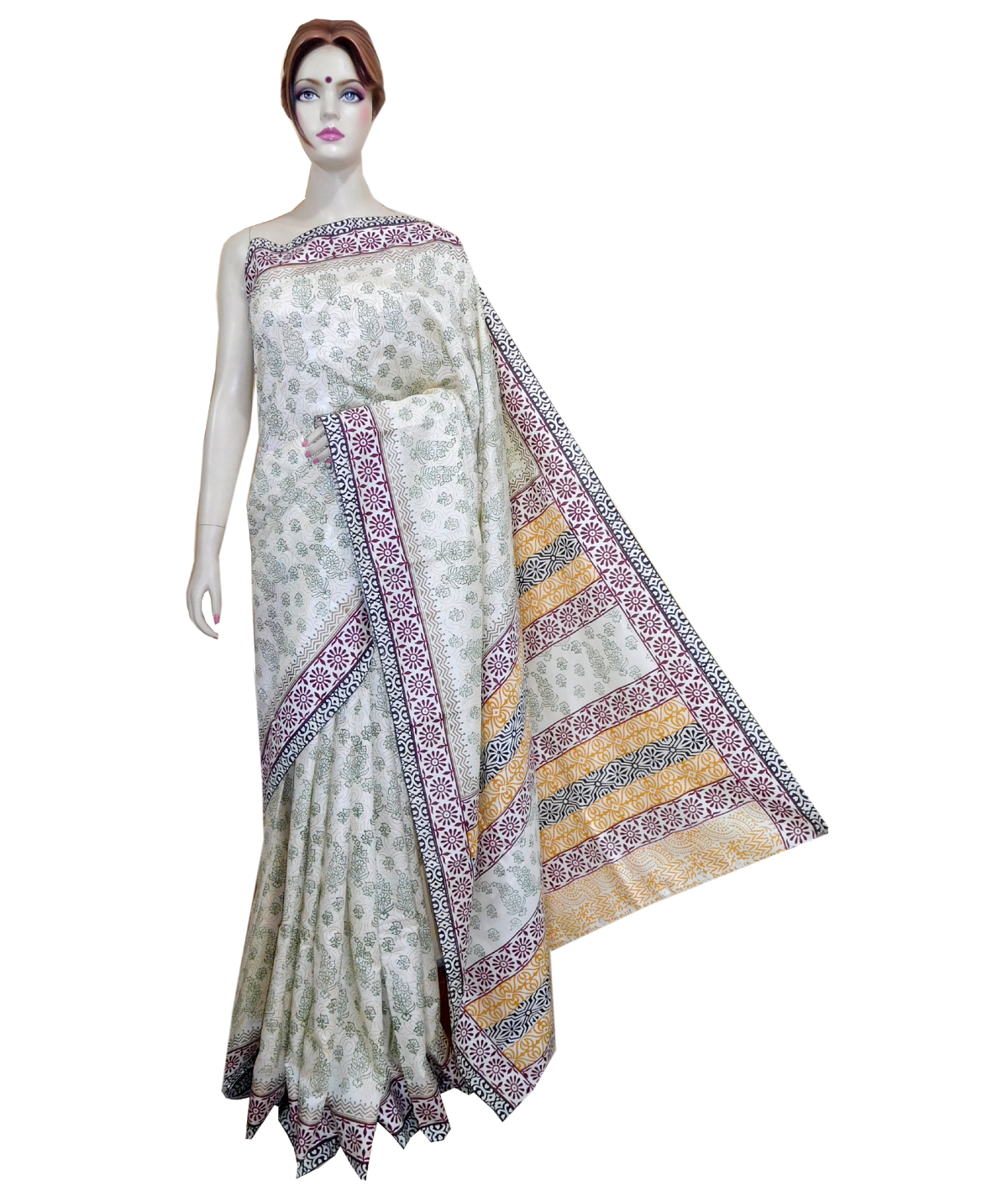 png black and white stock Online Silk Mixed Saree