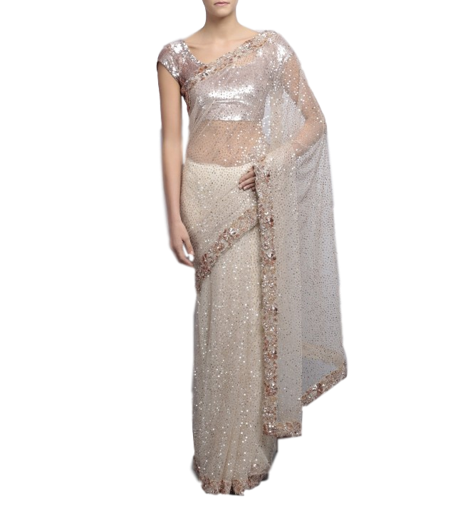 image library download Ivory color designer saree with sequin work