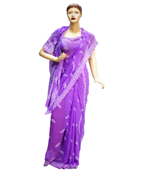 svg transparent library Faux Georgette Purple Base Saree with White Thread Chikan work