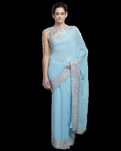 clipart transparent stock Light blue color designer saree with silver ssequin work