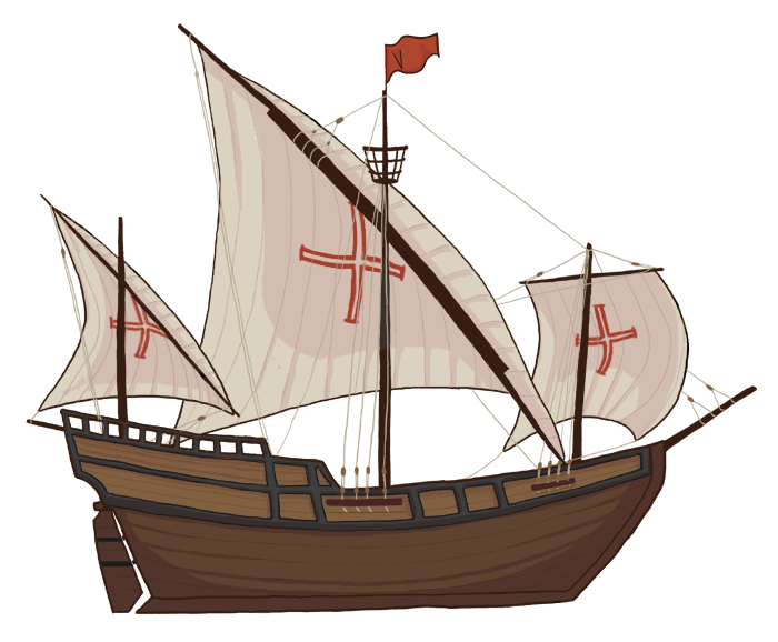 clipart black and white library Ship caravel clipart