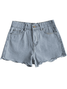 picture library download Scalloped Hem Denim Shorts DENIM BLUE