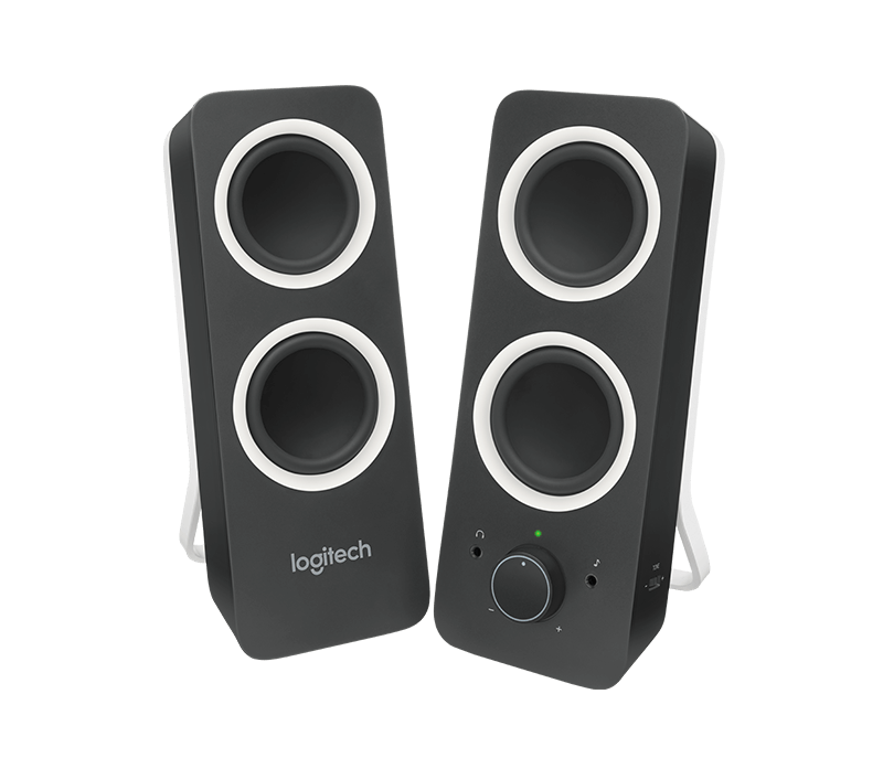 clip black and white Logitech z stereo with. Transparent speakers