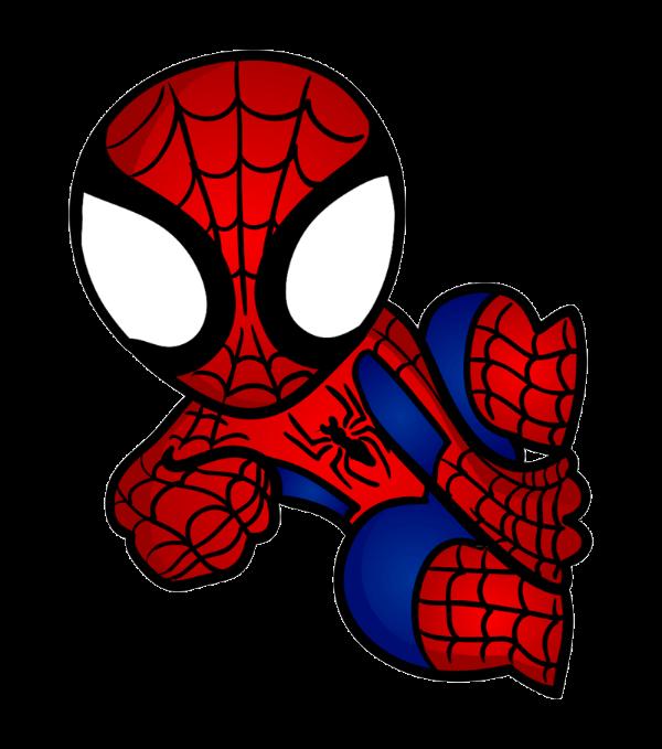 clip art black and white Chibi Spiderman by GoldenNightfall