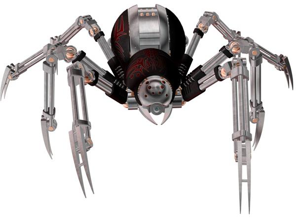 banner black and white Robot Spider
