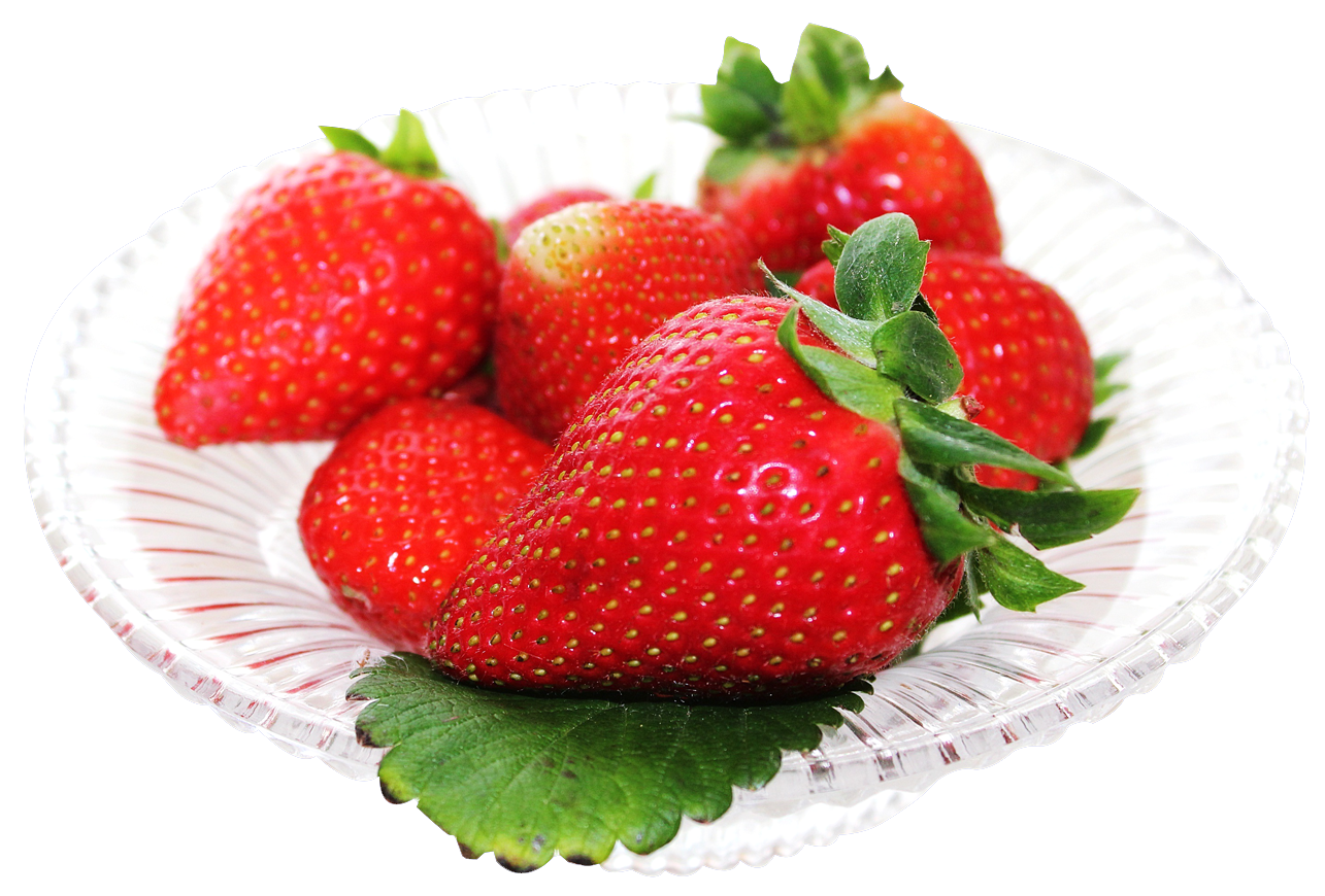 svg stock Strawberry in plate PNG Image