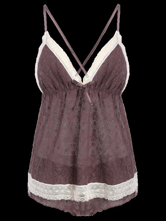image free stock Bowknot Spaghetti Strap Lace Sleepwear Suit COFFEE