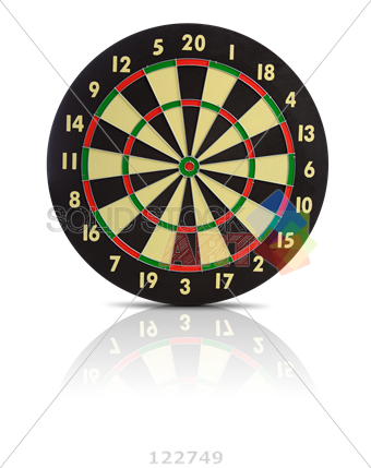 banner transparent Stock Photo of Dart board on transparent background target at the center