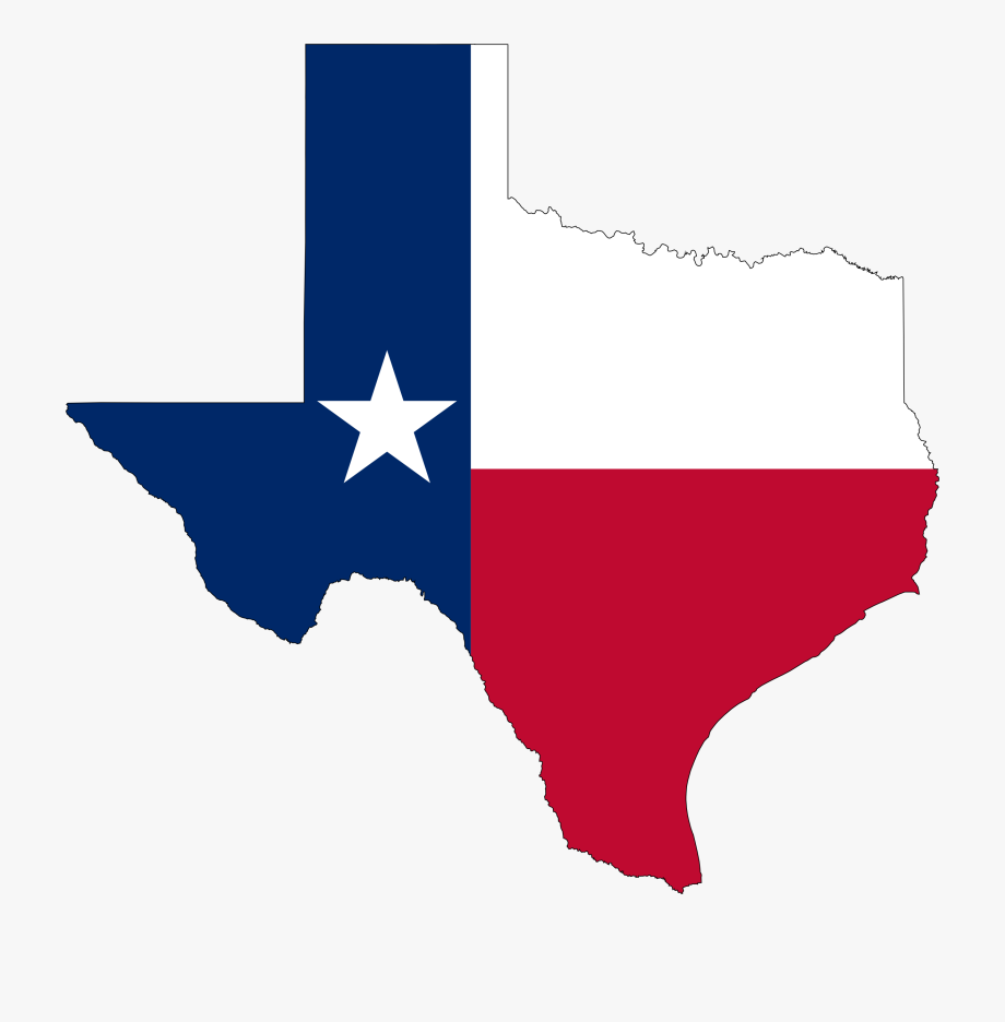 graphic State flag map icons. Transparent texas