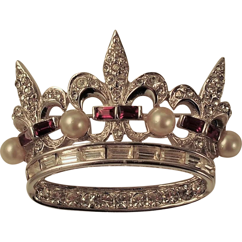 vector stock Vintage Boucher Jeweled Crown Brooch Signed Numbered Red