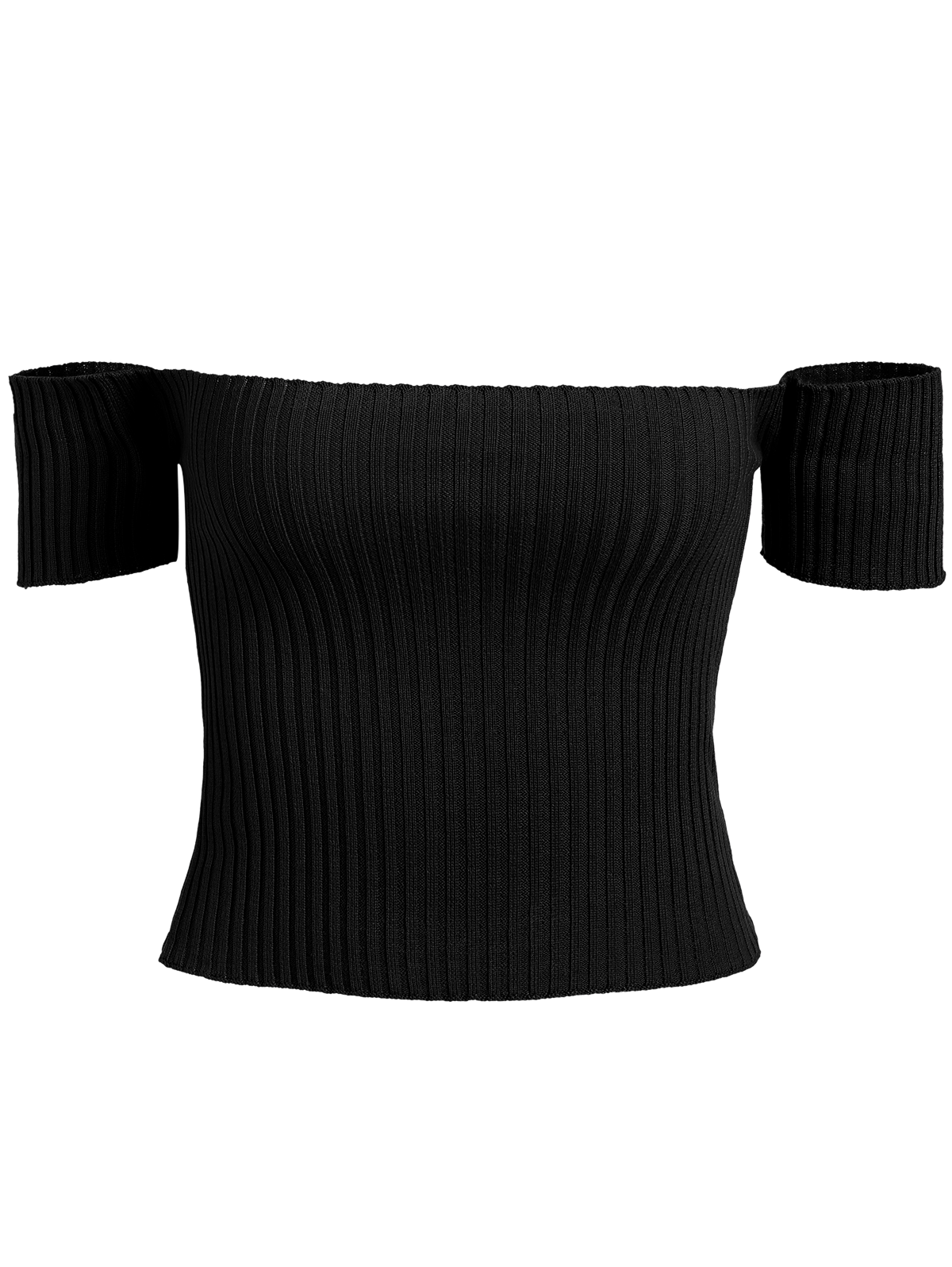 clipart free download Rib Knit Off The Shoulder Crop Top in Black ONE SIZE