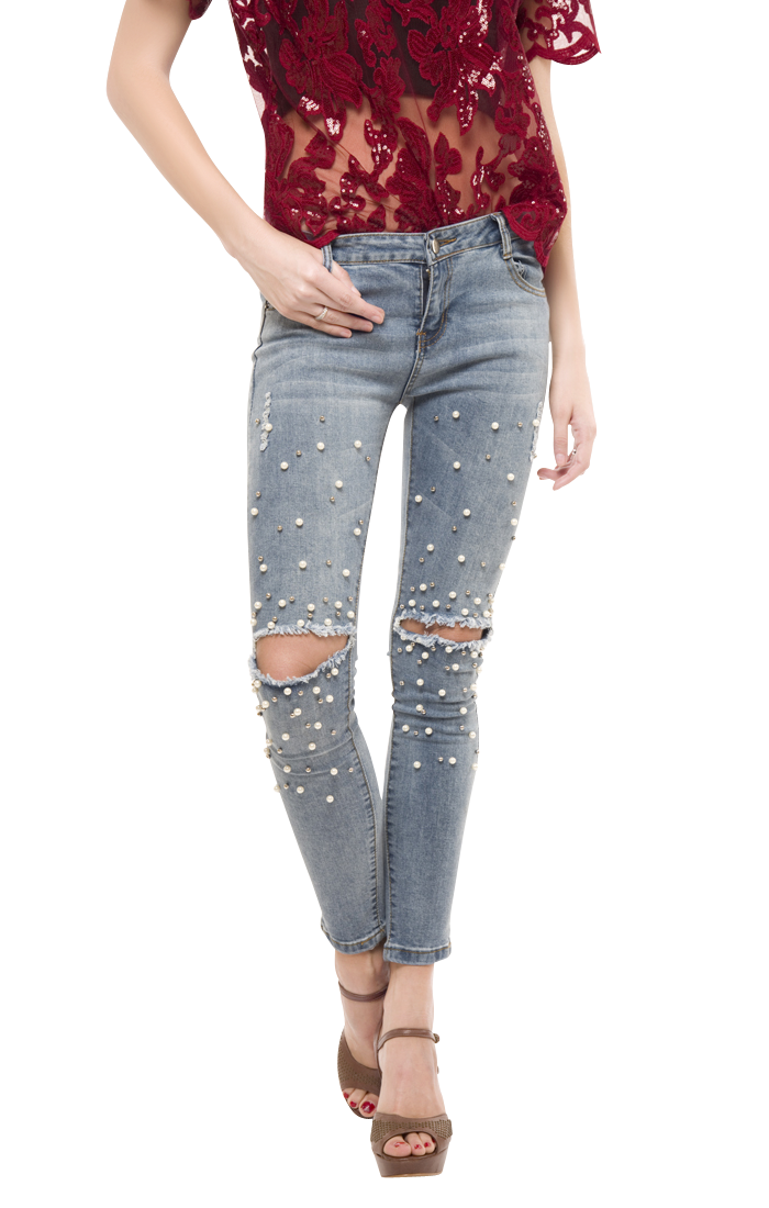 graphic transparent Pearl Ripped Jeans