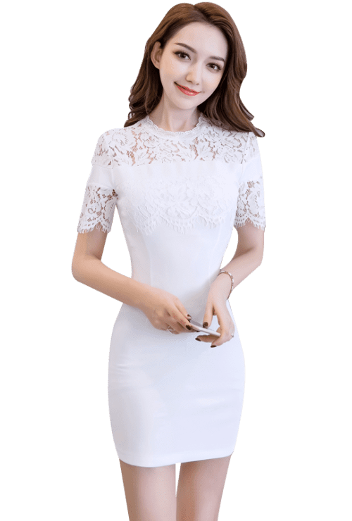 svg free download High Neck Layered Lace Bodycon Dress