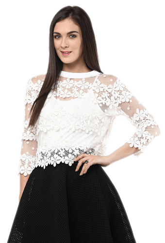 clip transparent Remanika Knitted Floral Lace And Net Top for women
