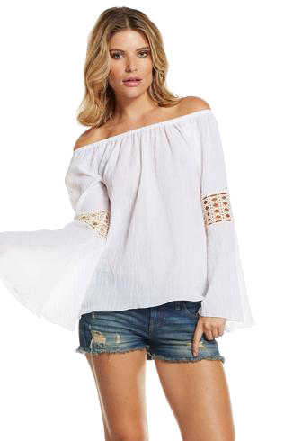 png library Off shoulder blouse with bell sleeve