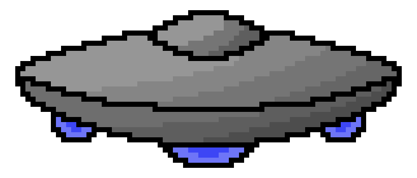 vector black and white library transparent ufo pixel #106906548