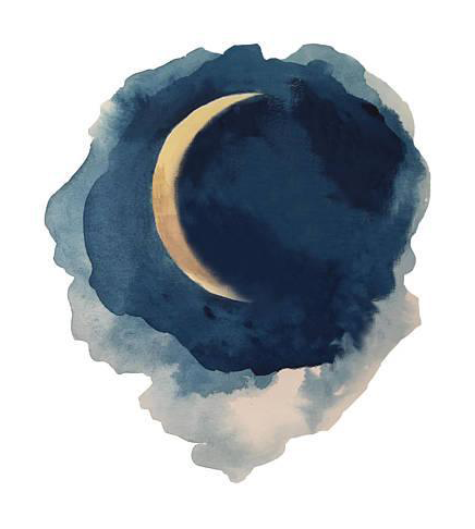 banner black and white library Phases of the Moon Series Watercolor Painting