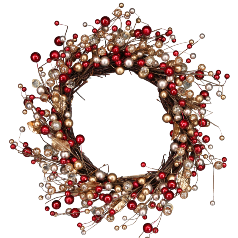 vector transparent library This Christmas wreath is made from twigs and berry like decorations