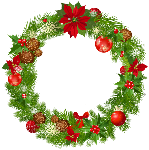 image royalty free download Large Deco Christmas Wreath PNG Picture