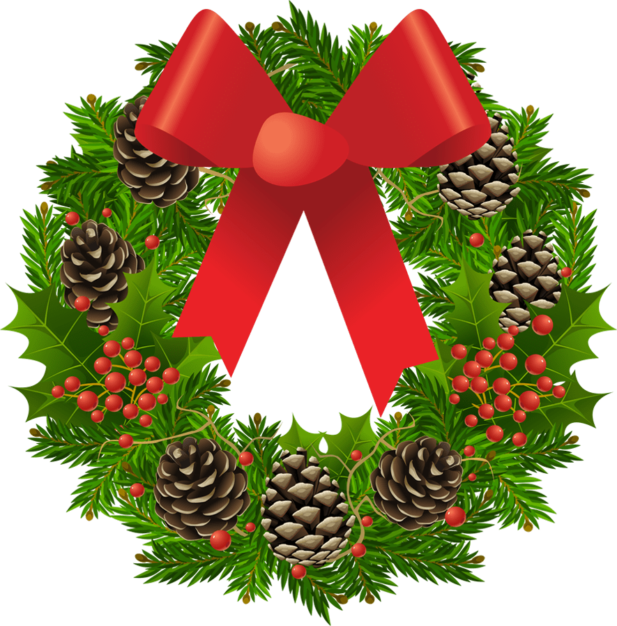 banner transparent stock Christmas Wreath With Ribbon transparent PNG