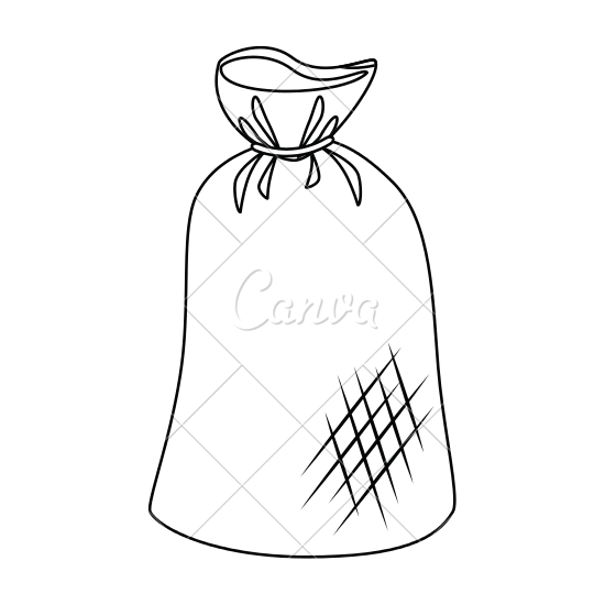 graphic free stock Bag drawing at getdrawings. Trash clipart black and white