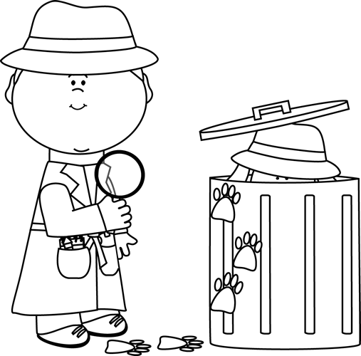 black and white stock Trash clipart black and white. Detective looking for clues