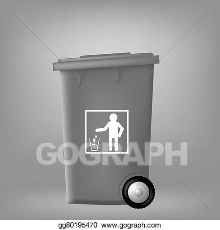 jpg royalty free download Stock illustration plastic . Trashcan clipart grey