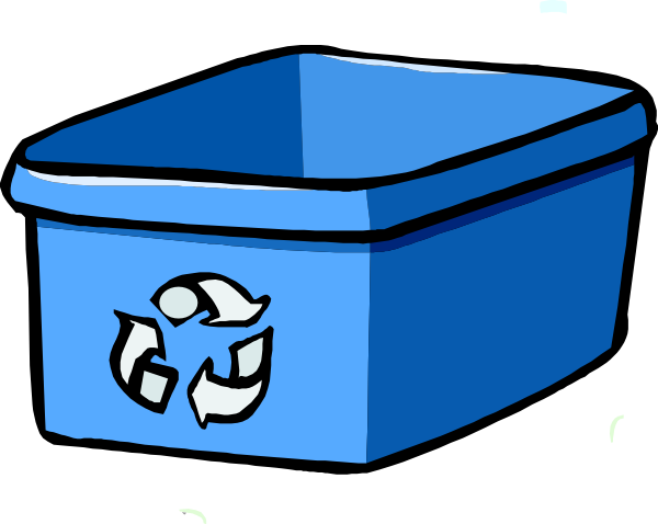 clip Recycle Bin Blue Clip Art at Clker
