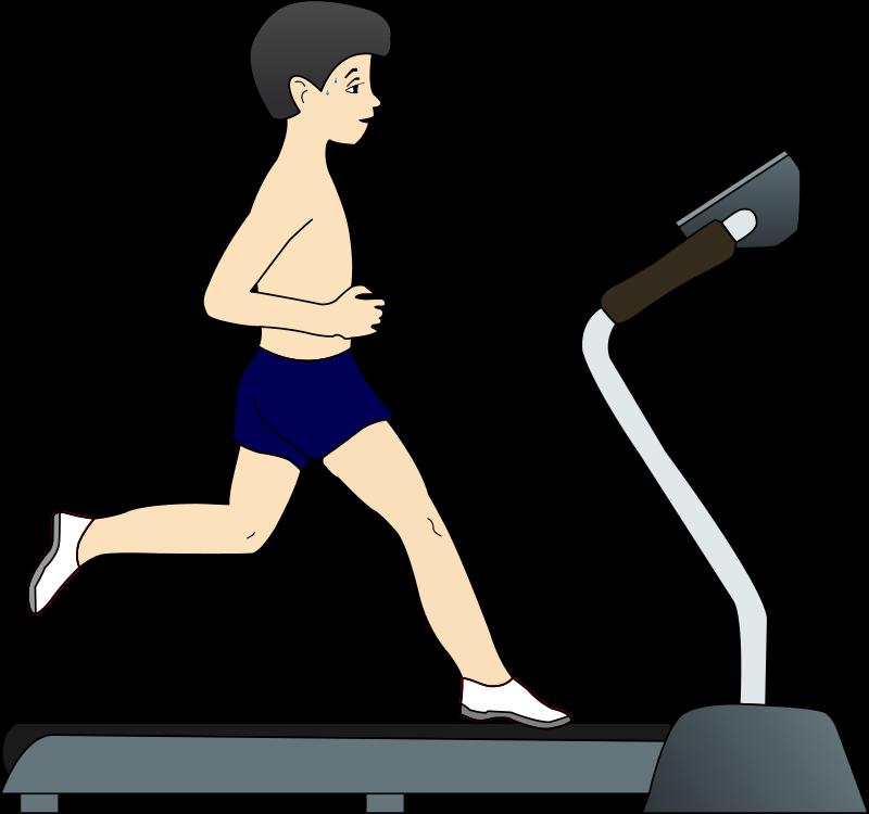 image royalty free download Boy running on medium. Treadmill clipart