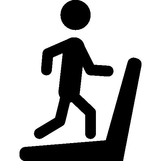 svg freeuse Man silhouette running on treadmill machine