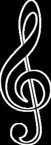 clip stock Treble clef clipart. Black w white outline
