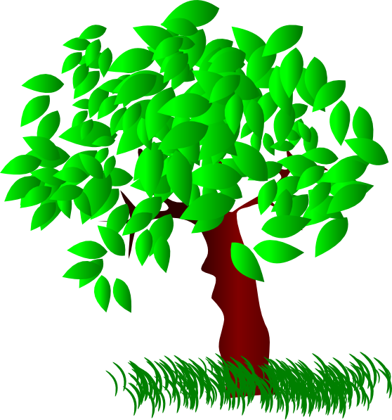 svg free library Tree Large Leaves Clip Art at Clker