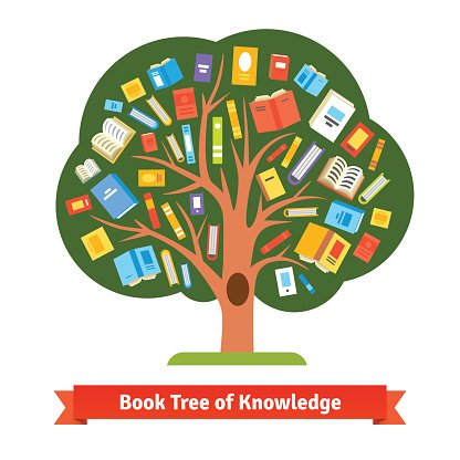 picture black and white library Tree of knowledge clipart. Book and reading image