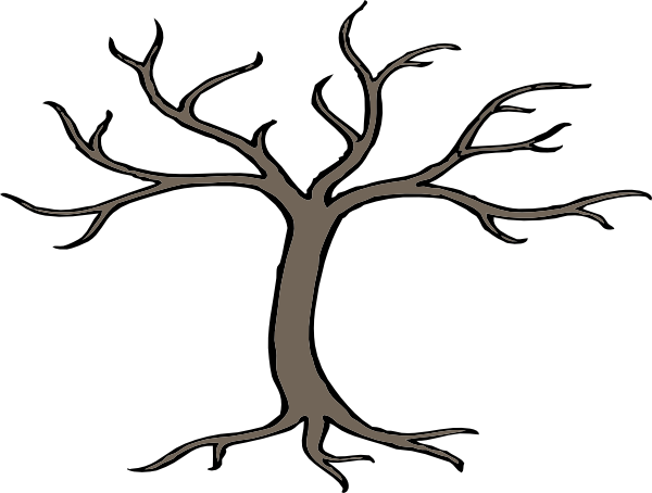 clip free stock Black And White Tree With Roots Clipart