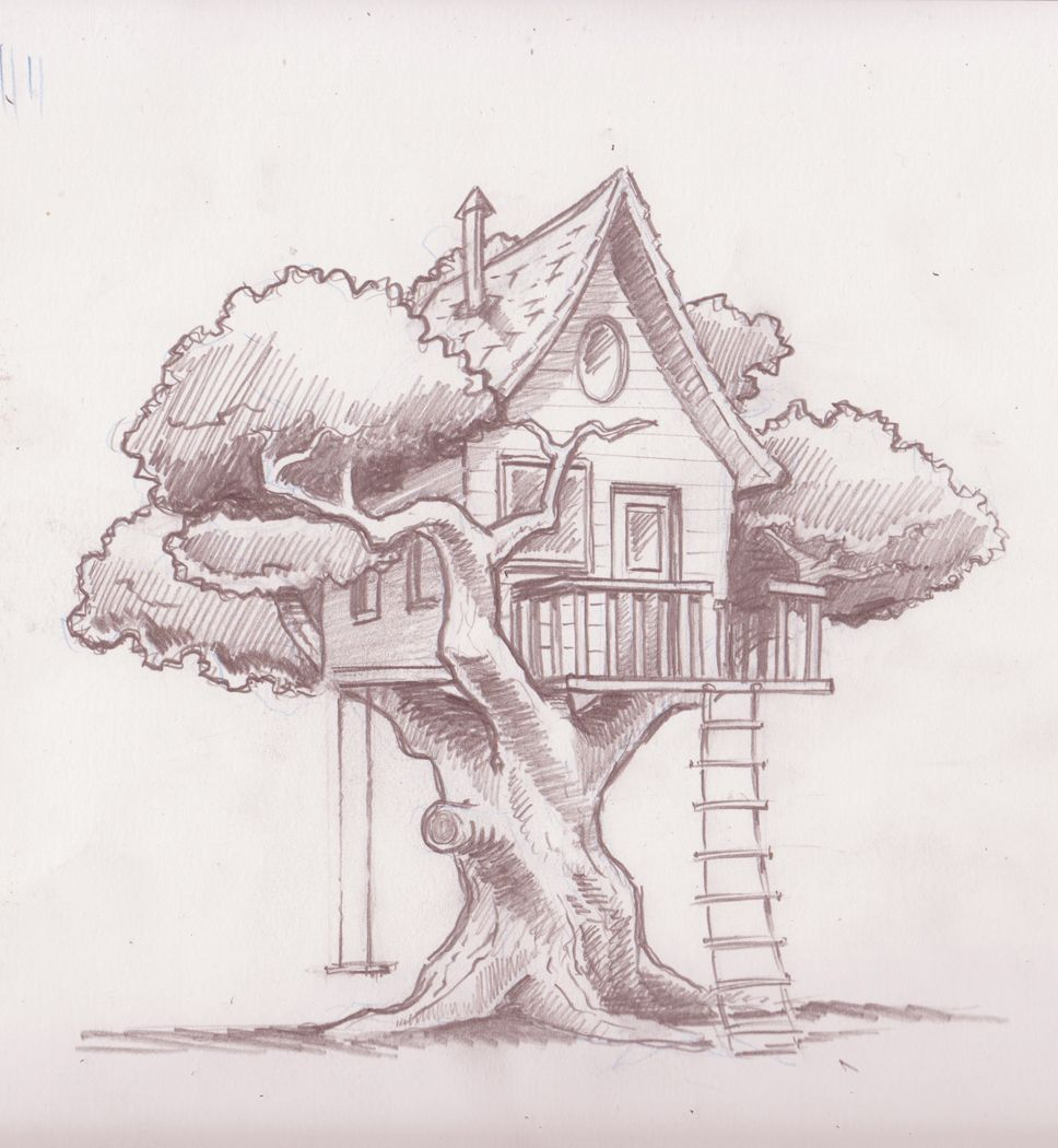 free library Treehouse drawing. Final sketch zentangles paper