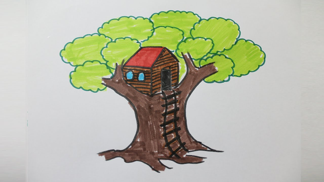 clip art library download Treehouse drawing. How to draw a