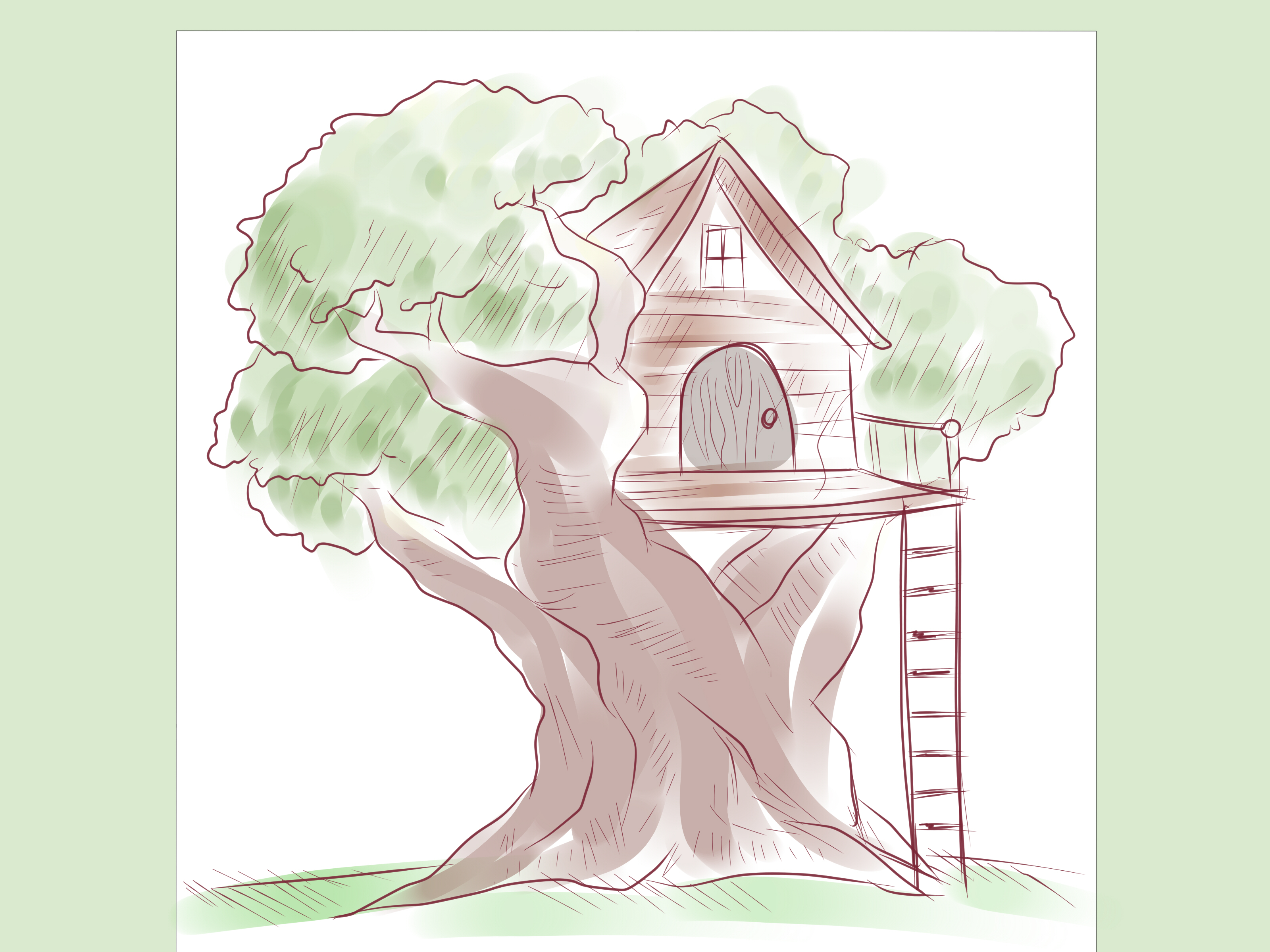 vector black and white library Treehouse drawing. How to draw a